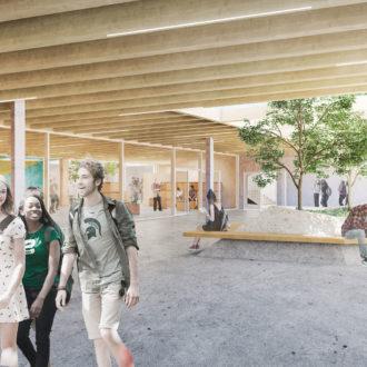 Illustration projet architectural 3D lycée Ploermel_agora