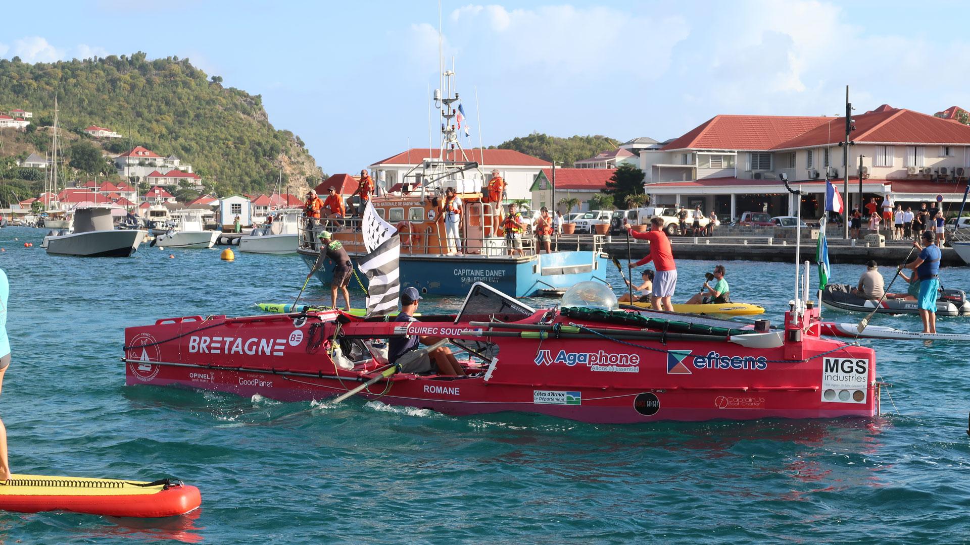 Arrivée de Guirec sur son rameur à Saint-Barthelemy aux Antilles le 26 février 2021