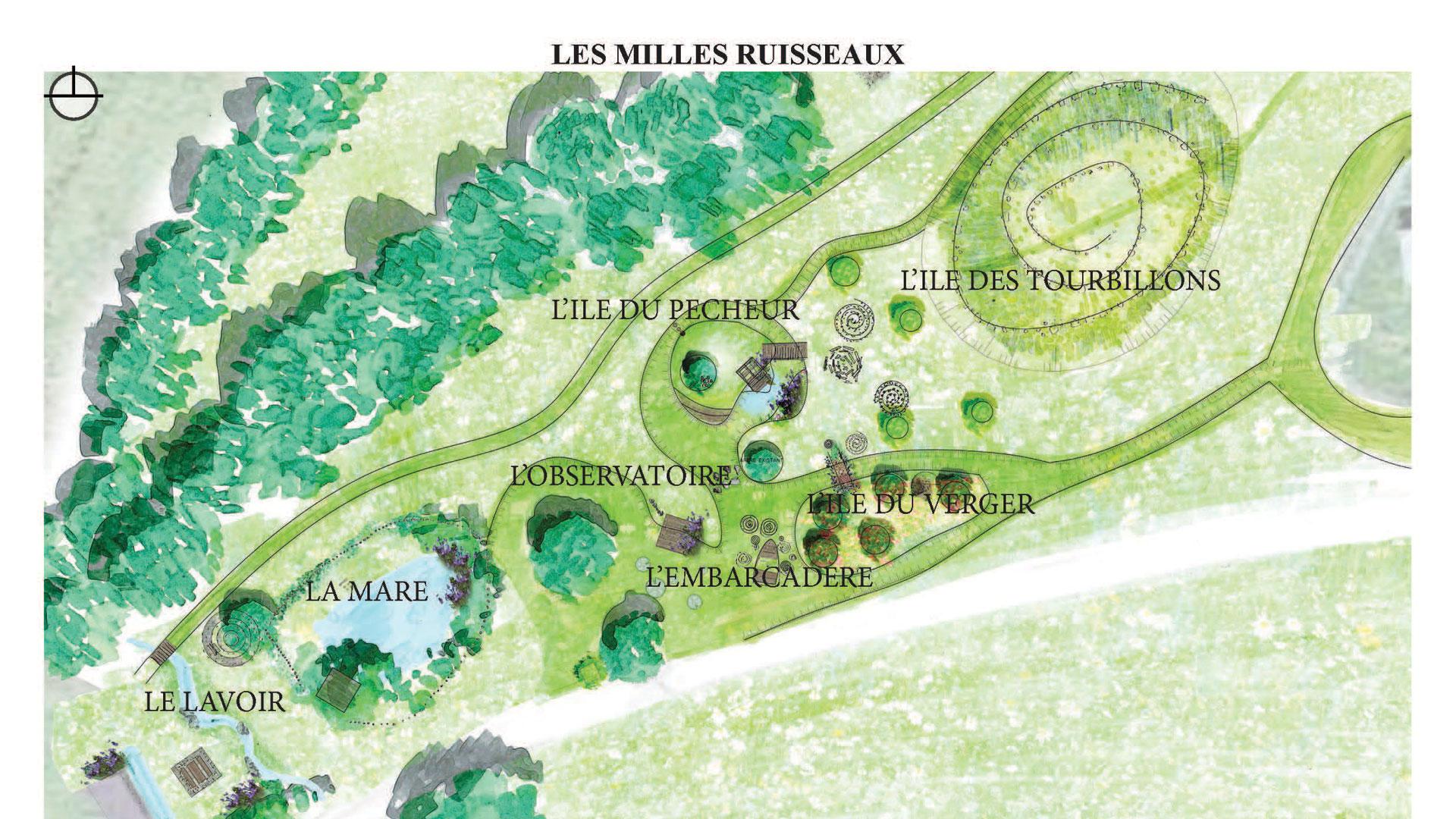Plan du jardin des mille ruisseaux à Bréteil
