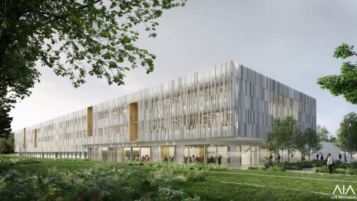 Illustration projet architectural 3D lycée Ploermel_vueSudlycee