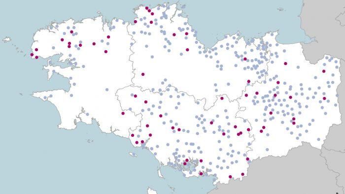 carte des 414 communes labellisées zéro phyto en Bretagne
