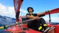 Gros plan sur le vavigateur aventurier Guirec à bord de son rameur
