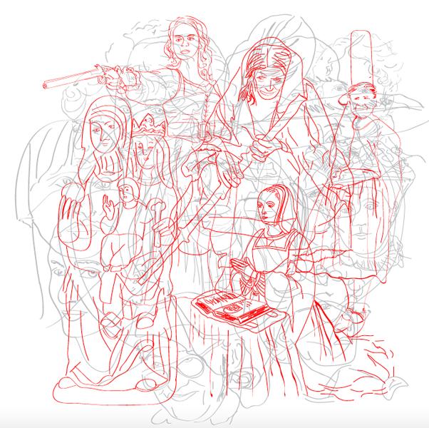 illustration chroniques radio Corelab L'île aux femmes sur le thème 'Figure féminine et imaginaire collectif '
