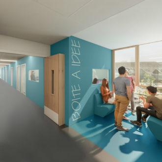 Couloir étage de la cité scolaire de Kerichen