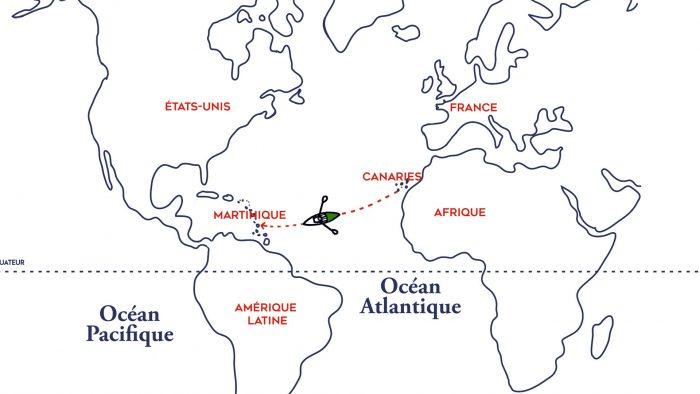 Carte Traversée Altantique à la rame de Guirec