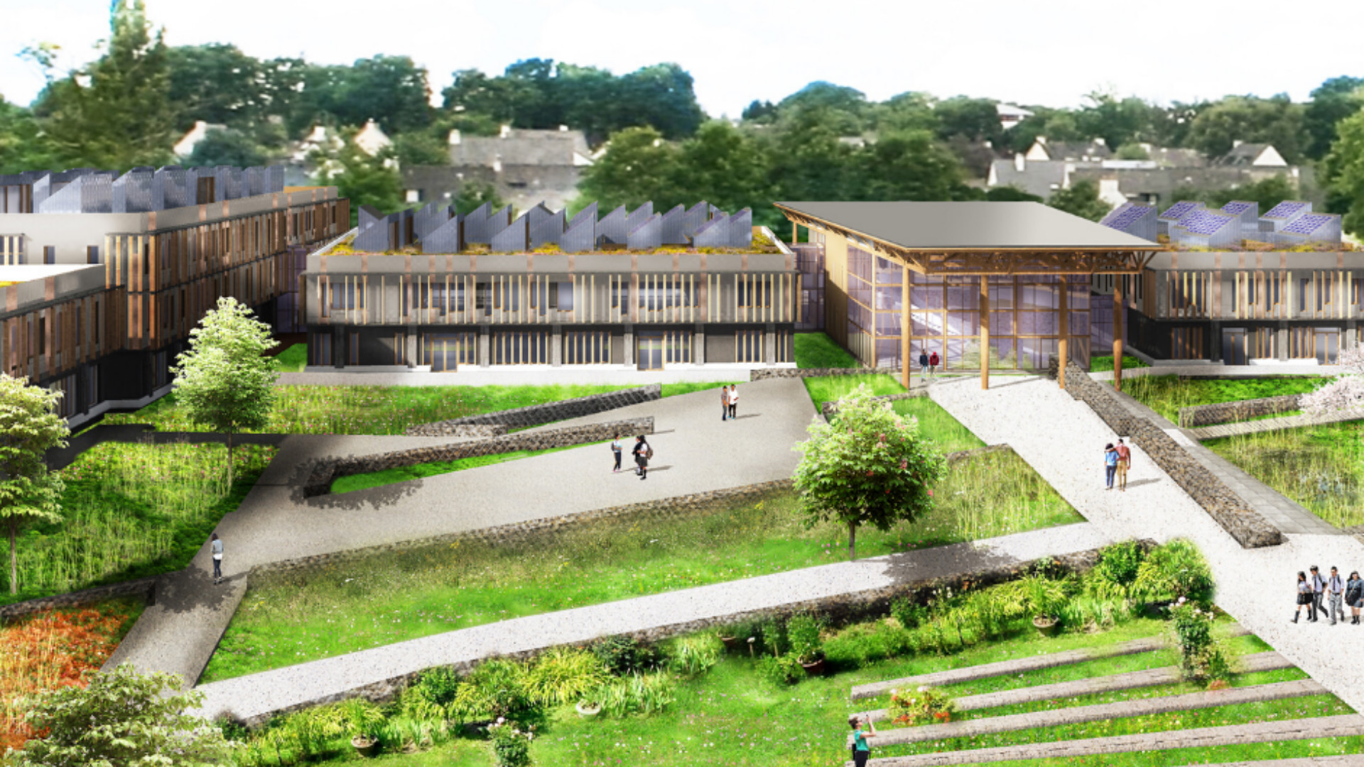 Vue d'architecte du futur lycée Simone-Veil de Liffré