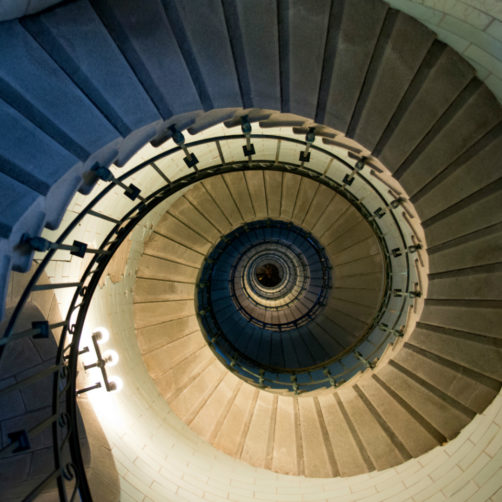 Escalier de phare vu de haut