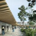 Vue de la cour du futur lycée de Ploermel