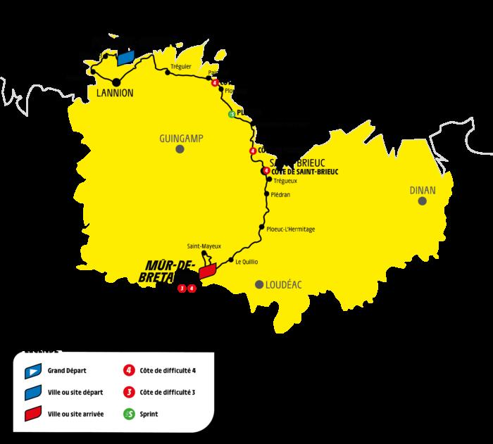 Carte étape costarmoriacine Tour de France 2021