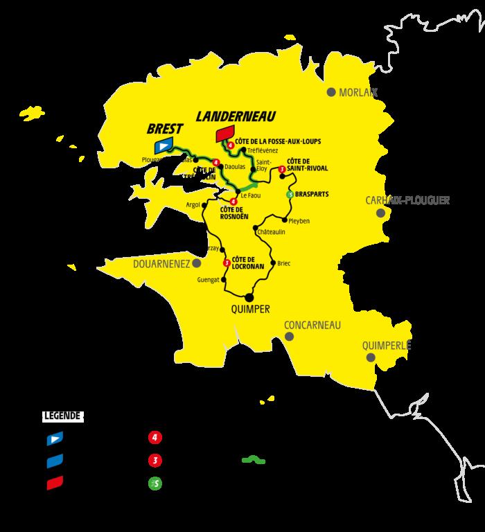 Carte du Tour de France 2021 et des étapes finistériennes