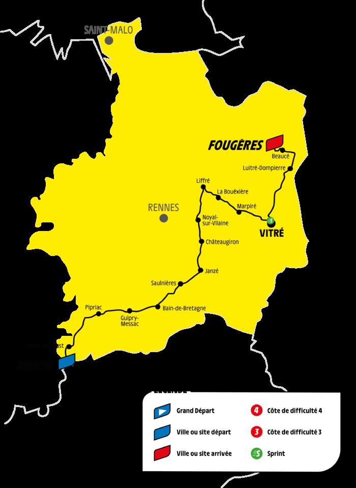 Carte étape brétilienne Tour de France 2021