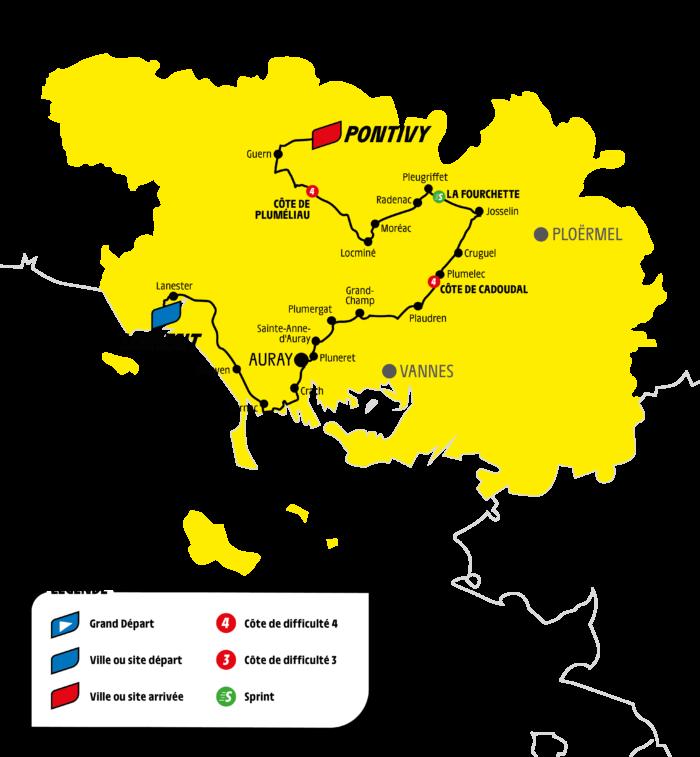 Carte étape morbihannaise Tour de France 2021