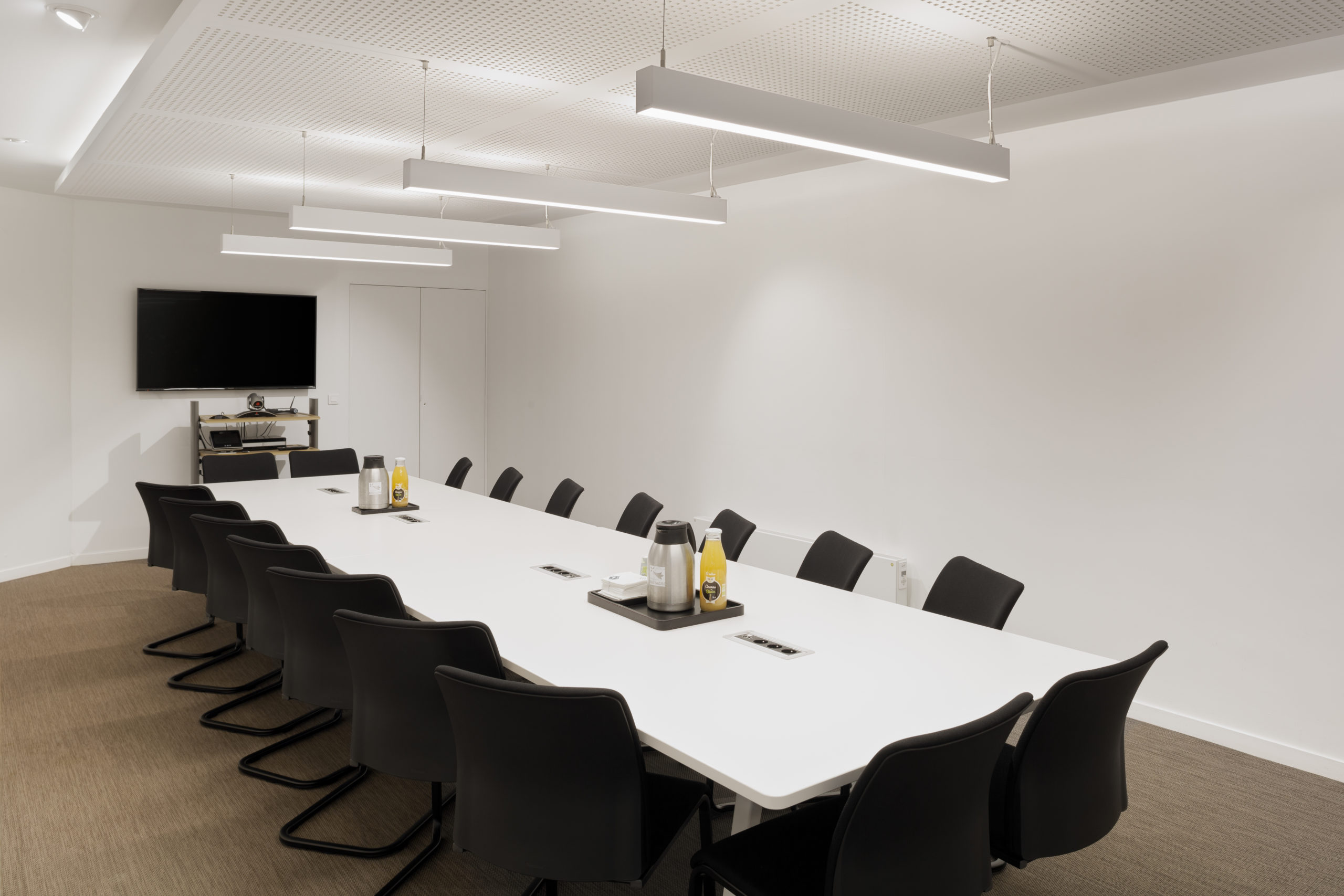 salle pour 18 personnes, visioconférence, vestiaire, climatisation