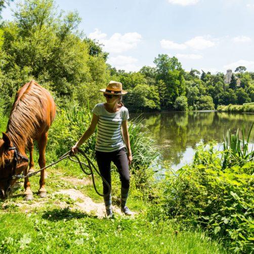 Cavalière et son cheval à Pont-Réan, le long de la Vilaine, sur la commune de Guichen (35)