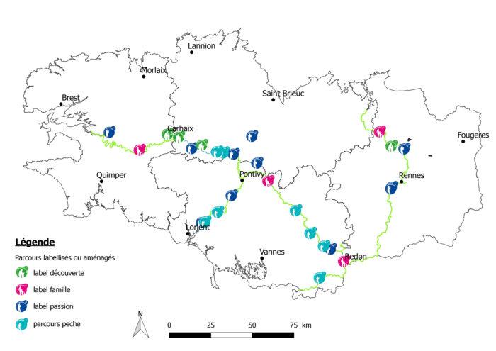 Carte des parcours de pêche le long des canaux labellisés en Bretagne
